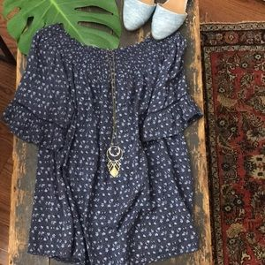 Tops - Peasant blouse boatneck loose fit blue floral